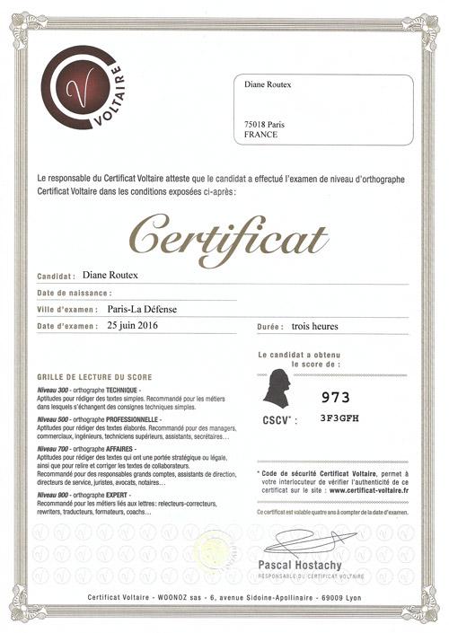 certificat Volatire